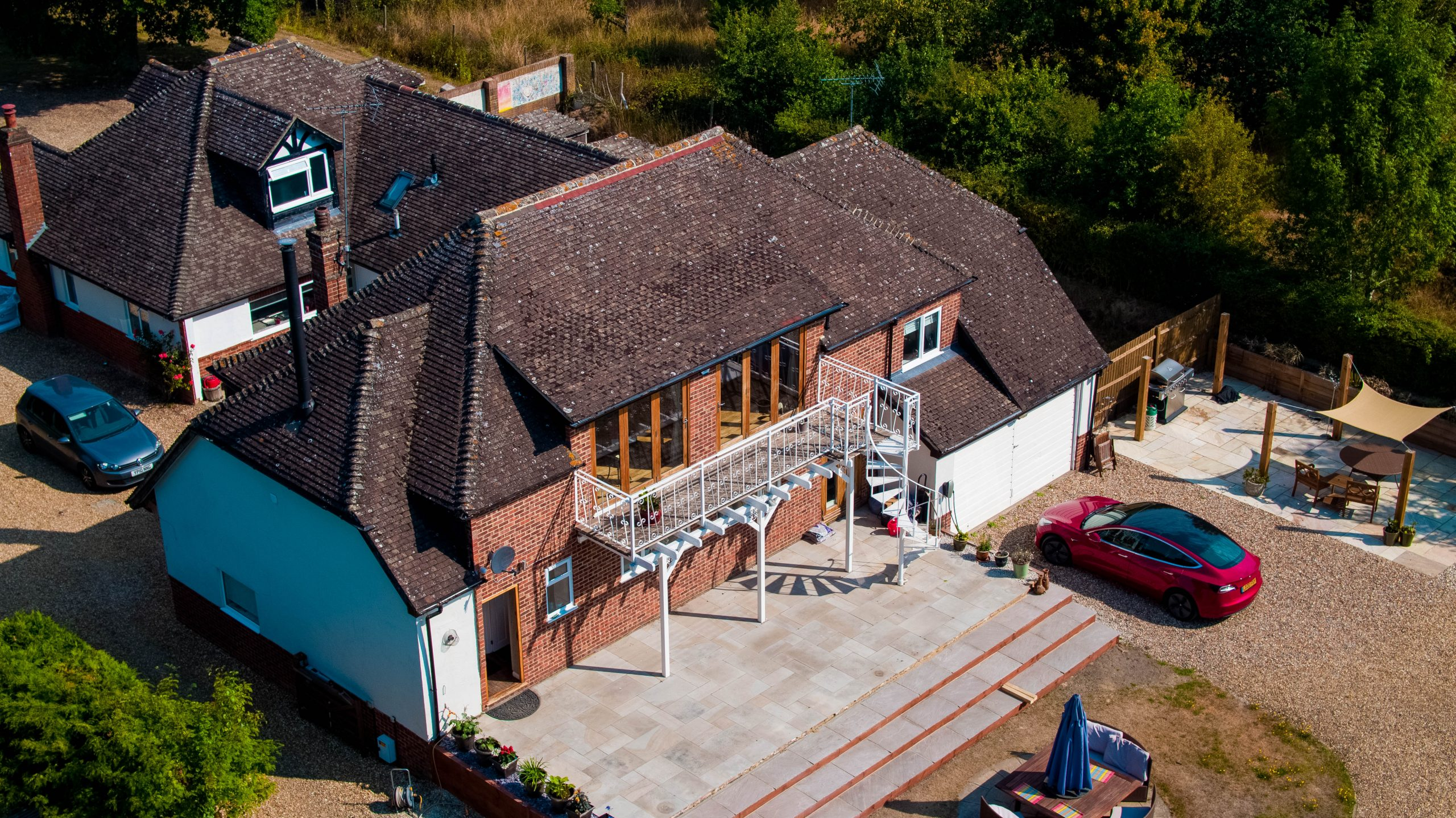 Aerial photography of country house, Eversely, Hampshire.